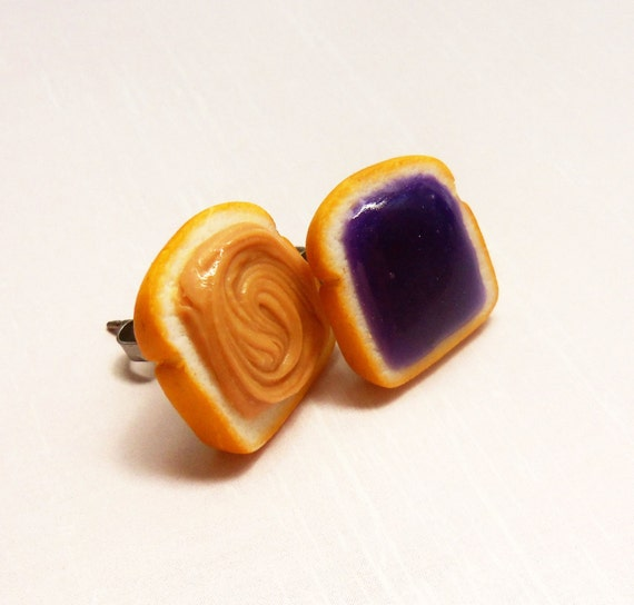 grape peanut butter and jelly stud earrings post earrings polymer clay