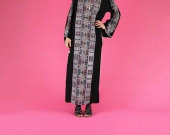 Black Cross Stitch Long Caftan Dress - Medium