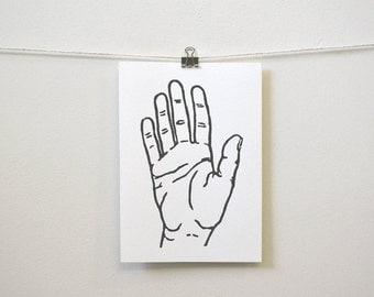 "modern minimal home accent: ""la mano (minimal hand),"" fine art block print"