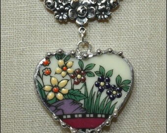 Broken China Jewelry Lenox Rutledge, Old Southern Garden, Floral Heart Pendant Necklace