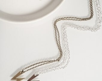 The Electra Lighting Bolt Necklace in Gold or Silver