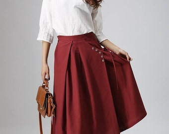 wine red skirt, casual skirt, linen skirt, pleated skirt, custom made, midi skirt, high waisted skirt, skirt with pocket  (814)