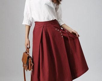 Cotton midi skirt | Etsy