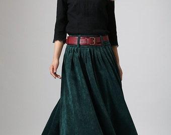 Teal Green maxi skirt - long Corduroy Winter Skirt - Cozy Pleated  skrit - All Seasons full skrit-  Investment Skirt - Custom made  (MM61)