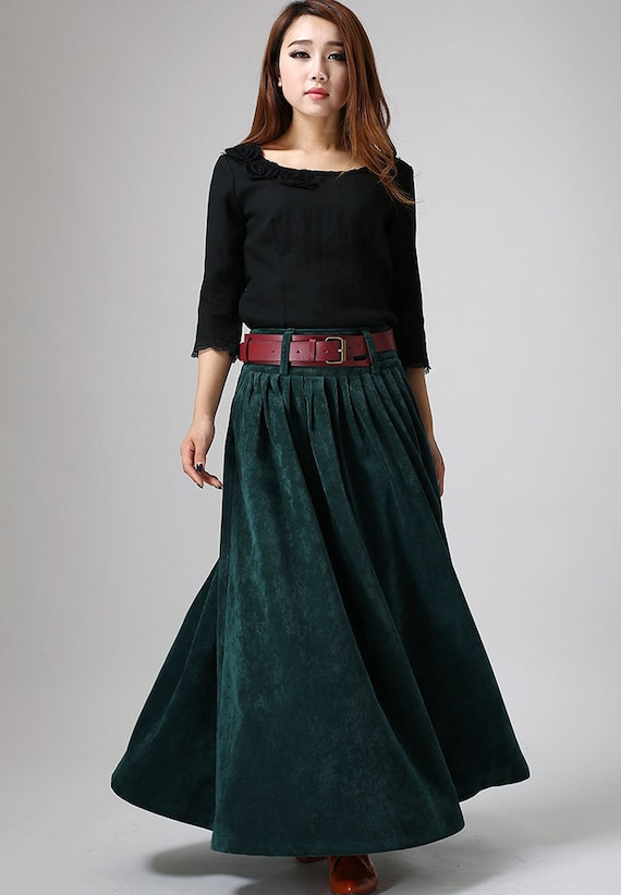 Teal Green maxi skirt - long Corduroy Winter Skirt - Cozy Pleated  skrit - All Seasons full skrit-  Investment Skirt - Custom made  (MM61)
