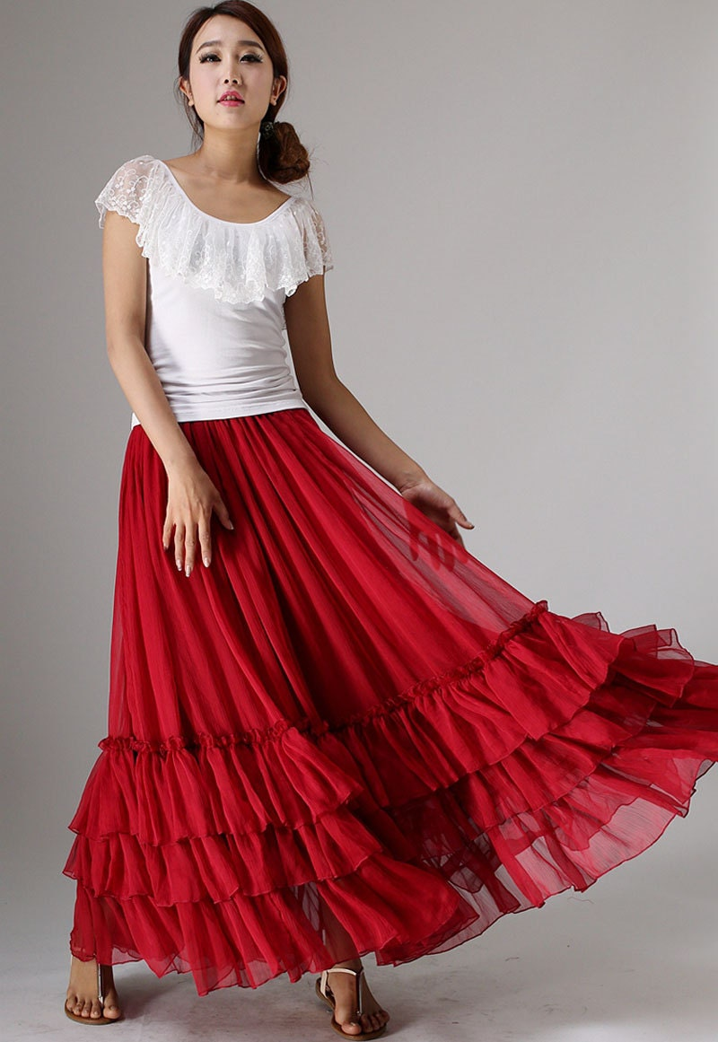 Simple High-Waist Chiffon Expansion Pleated Patchwork Skirt  Tidebuy.com