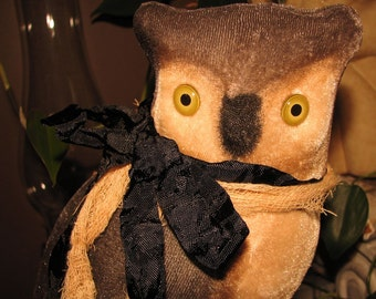 Beautiful Ivory Velvet Owl, with a Black Ribbon, and Stained Cheesecloth, Fall, or Halloween