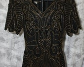 Vintage sequin and beaded cocktail top by Scala - 80s glam, black and gold, pure silk