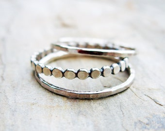 Tiny Dots and Hammered Stacking Rings - Set of 3 Sterling Silver Bands