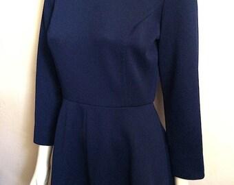 Vintage Women's 60's Mod Dress, Navy Blue, Long Sleeve by Kay Windsor (M)