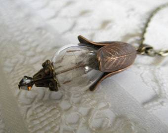 Ride The Wind-Wispy Dandelion Seed Terrarium Reliquary Glass Teardrop Bronze Pendant-Symbolizes Happiness, Affection, Desire, Faithfulness