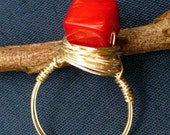 Ring Red Coral Silver Plated Wire Wrapped  Size 5 & 1 Half