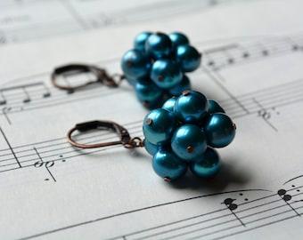 Bubble Teal Earrings Cluster Dangle Earrings Freshwater Pearl Beaded