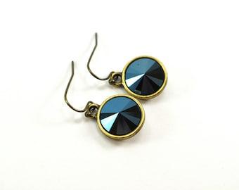 Dark Metallic Blue Earrings Midnight Blue Night Sky Earrings Antiqued Brass Metallic Dangle Earrings Swarovski Crystal