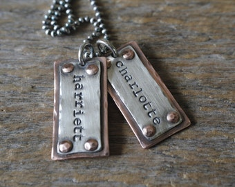 Personalized jewelry, Rustic hand stamped dog tag necklace, daddy dog tags, mommy jewelry, kids name necklace, gift for him, gift for dad