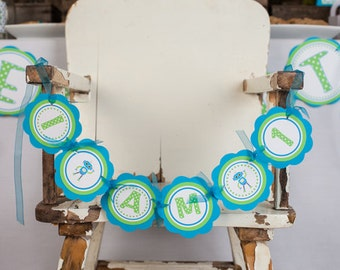 Robot First Birthday I AM 1 MINI BANNER  - Robot Birthday Decorations in Aqua Blue and Green
