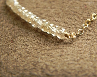 Natural Golden Zircon and 14kt Gold Filled Color Block Necklace