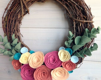 Grapevine Wreath Felt Handmade Door Wall Decoration - Spring Blush 12in