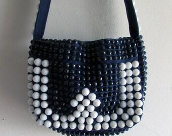 Vintage Plastic Bead Handbag Navy Blue and White