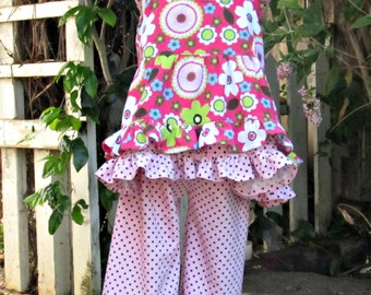 Girl Custom Corduroy Ruffle Top and Ruffle Pants Outfit- Toddler Girl- Size 3T Ready To Ship