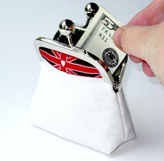 Union Jack jewelry coin purse ... cream canvas black linen ... applique Union Flag ribbon ... patriotic British anglophile ... gift for her