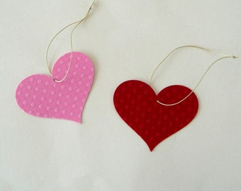 HEARTS - Cardstock -  Red - Pink - Polka Dot - Gift Tags - Hand Made - Embossed - 40 Pieces - Valentines - Wedding - Bridal - Shower -UNIQUE