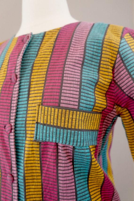 60's Striped House Coat / jacket / Shirt