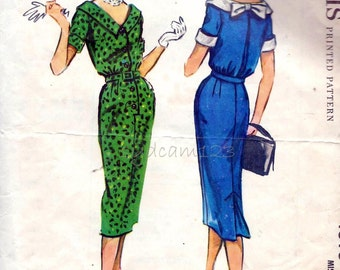 Vintage 1958 Pattern Button Front Dress Back Bow Trimmed Collar Slim Skirt McCalls 4616 Bust 34