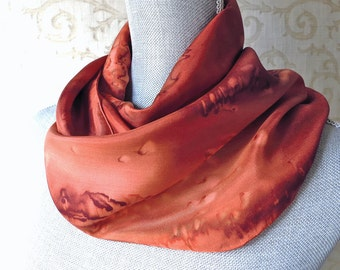 Silk Scarf Handpainted in Copper and Brown