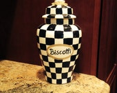 Ceramic clay black and white checkered and sage green biscotti cookie jar with lid