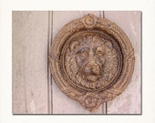 "New Orleans Lion Head Door Knocker Photograph ""NOLA Door Knocker #1"" Fine Art Print. Black and White Photography."