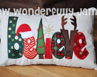 Believe in Christmas Applique Pillow