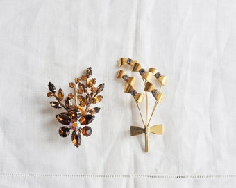 Two Rhinestone Floral Brooches / 1950s / Vintage