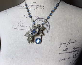 Vintage Assemblage Jeweled Floral Collage Necklace with Paste Flower Brooch, Vintage Blue Rosary Beads, on a Rhinestone Buckle