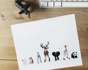 ANIMAL COLLECTION 8x10 Art Print Kid's Nursery art Toy animals Children's room decor Gift zebra tiger elephant panda deer giraffe bear