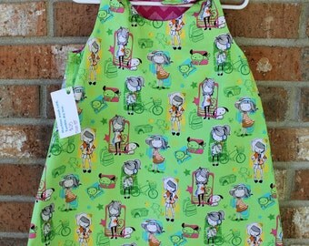 Toddler Girl's Pink and Green Reversible Dress Sized 3T Ready to Ship