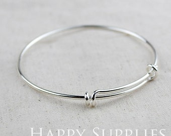 5PCS Silver bangle bracelet for charms. Adjustable  wire. For stacking, charm bracelets. (PBC-Silver)