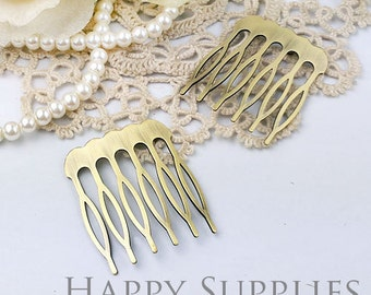 4pcs Nickel Free - High Quality Real Antique Bronze Copper 6 Teeth Barrette Hair Combs(ZX149)