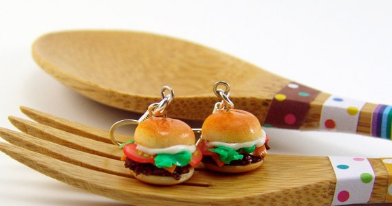Burger Earrings SALE Cheeseburger Earrings Food Jewelry