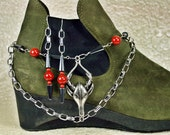 Fashion Forward Cow or Steer Boot Candee Boot Bracelet in Hematite and Red Jasper