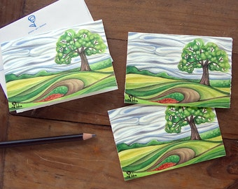 watercolor cards, landscape art print blank note card, nature stationery set