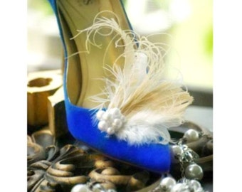 Shoe Clips Ivory Peacock & Pearls / Rhinestone. Bride Bridal Bridesmaid Couture, Pantone Fashion Gift, Diva Glam Bling, Bold Edgy Burlesque