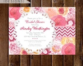 Vintage Lace Doily and Watercolor Flowers Bridal Shower Invite - PRINTABLE INVITATION DESIGN