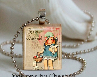 Easter Wishes Scrabble Necklace