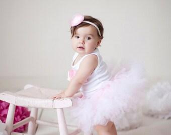 Baby Girls Birthday Tutu Dress Outfit, Sweet Pink Ballerina Tutu Dress, Baby Girls 1st Birthday Outfit