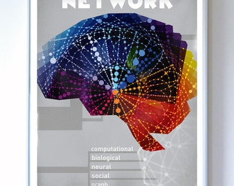 Brain Neuron Illustration, Art Print, Network Connectivity, Fine Art Print, Science Wall Art