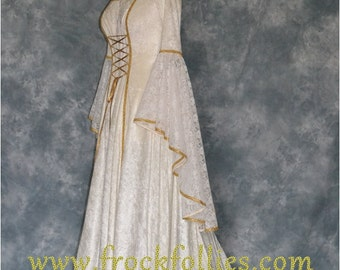 Renaissance Gown,Medieval Wedding Dress,Elvish Wedding Dress,Robe Medievale,Pre-Raphaelite Dress,Hand Fasting Gown, Pagan Dress,Lilith