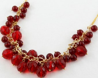 Big Bold Chunky Red Necklace, Crystal Cluster, Red Bib Necklace with Gold Chain, Statement Necklace, Birthday Party Jewelry, Bright Red