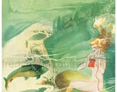 vintage art deco illustration mermaid knitting underwater digital download