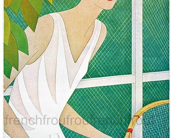 antique art deco illustration the tennis player flapper girl DIGITAL DOWNLOAD
